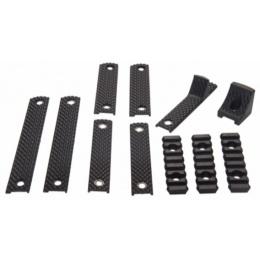 AMA Tactical Handguard 3 RIB Rail Section ABS Plastic Set - BLACK
