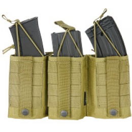 AMA Tactical Airsoft M4 Triple Wedge Mag Pouch - KHAKI