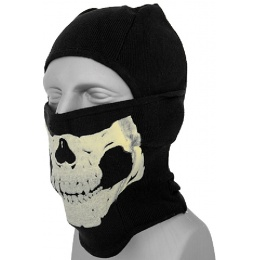 AMA Tactical Winter Glow-in-Dark Skull Balaclava - BLACK