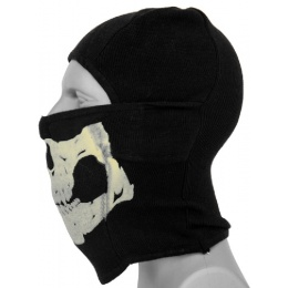 AMA Tactical Winter Glow-in-Dark Skull Balaclava - BLACK
