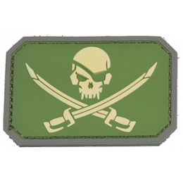 AMA Pirate Cutlass PVC Patch - GREEN/YELLOW