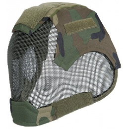 AMA Tactical V6 Strike Full Face Wire Mesh Mask - WOODLAND CAMO