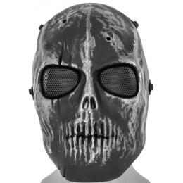 AMA Full Face Scarred Skull Mask - SILVER/BLACK