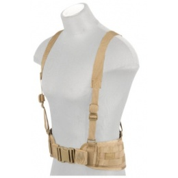 Lancer Tactical Low Profile MOLLE Battle Belt w/ Suspenders - TAN