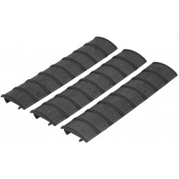 Element Airsoft 3-pc Protective 6.25 Inch Checkered Rail Covers - BLACK