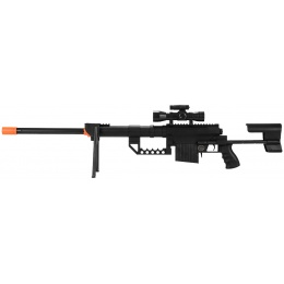 UK Arms M200 Airsoft Sniper Rifle w/ Bipod and Laser - BLACK