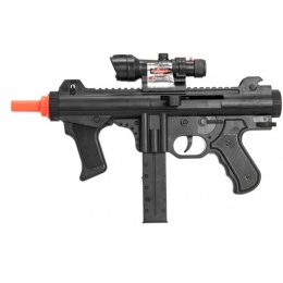 UK Arms Airsoft Spring Powered SMG w/ Scope & Laser - BLACK