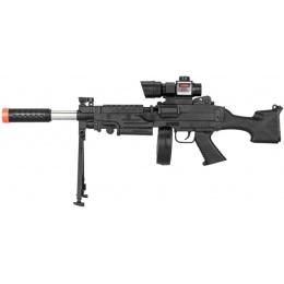 UK Arms Spring Airsoft LMG W/ Scope Laser & Drum Magazine - BLACK