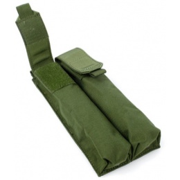 AMA Tactical MOLLE P90 Double Airsoft Mag Cordura Pouch - OD GREEN
