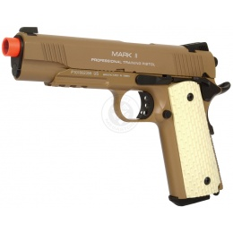 KWA Full Metal M1911 MKII PTP Gas Blowback Pistol w/ Railed Frame in Desert Tan