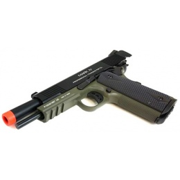 KWA Full Metal M1911 MKIV PTP Gas Blowback Pistol w/ Railed Frame in OD Green