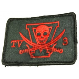 AMA Airsoft NSW Hook and Loop Embroided Patch - BLACK/RED