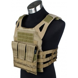 AMA Airsoft 1000D Plate Carrier w/ Dummy Plates Mag Pouches - KHAKI