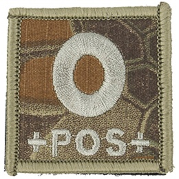 AMA Embroidered Blood Type O Pos Hook and Loop Morale Patch - MAD
