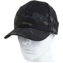AMA Elastic Back Short Baseball Cap - CAMO BLACK
