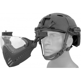 WoSport Piloteer Fast Helmet Adapter Face Mask - BLACK