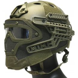 WoSport G4 System Nylon BUMP Helmet Mask w/ Goggles - OLIVE DRAB