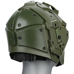WoSport Tactical Helmet w/ NVG Shroud & Transfer Base - GREEN