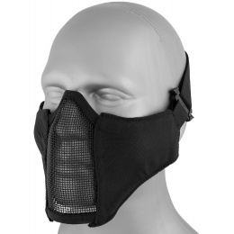 AMA Nylon PDW Mesh Mercenary Airsoft Half Mask - BLACK