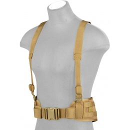 Lancer Tactical MOLLE Battle Belt w/ Suspenders - TAN