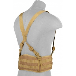 Lancer Tactical MOLLE Battle Belt w/ Suspenders - TAN