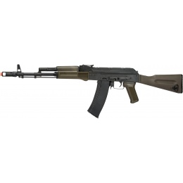 LCT Full Steel AK74M Airsoft AEG Rifle - BLACK/OLIVE DRAB GREEN