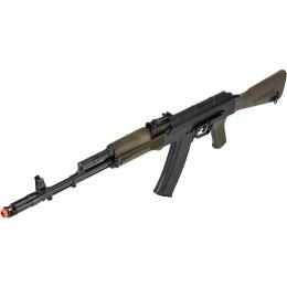 LCT Full Steel AK74M Airsoft AEG Rifle - BLACK/OLIVE DRAB GREEN