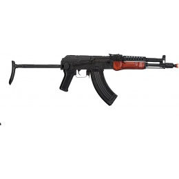 LCT Airsoft Steel MG-MS AEG Rifle w/ Folding Stock - BLACK/WOOD