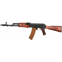 LCT Full Steel AK74 Airsoft AEG Assault Rifle - BLACK/WOOD
