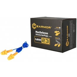 Earmor Max Defense Silicone Ear Plugs (Corded) NRR36 - YELLOW PLUGS