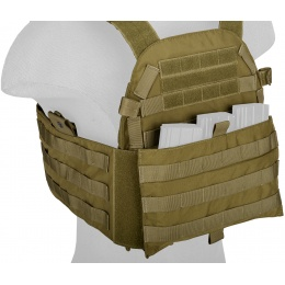 TMC Airsoft Tactical MOLLE Plate Carrier w/ Mag Pouch - KHAKI