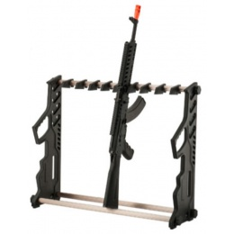 AMA Airsoft Rifle Gun Rack - 11 Stack - BLACK / WOOD