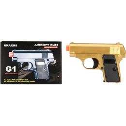 UK Arms Compact Spring Vest Pocket Airsoft Pistol - GOLD