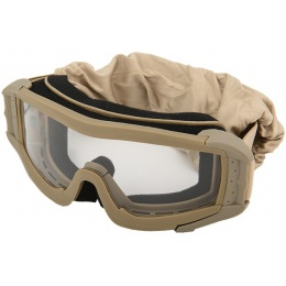 Lancer Tactical Airsoft Polycarbonate Safety Lens Goggles w/ UV400 Lens - TAN