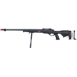 Well Airsoft Bolt Action Sniper Rifle w/ Fluted Barrel & Bipod - BLACK