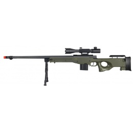 Wellfire Fluted Bolt Action Airsoft Rifle w/ Scope, Bipod - OD GREEN