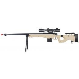 Wellfire Fluted Bolt Action Folding Rifle w/ Scope, Bipod - TAN