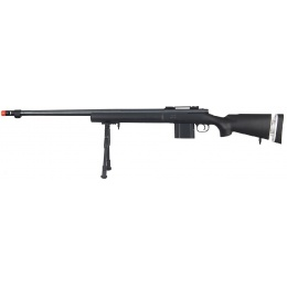 Wellfire Airsoft Bolt Action Rifle w/ Fluted Barrel & Bipod - BLACK