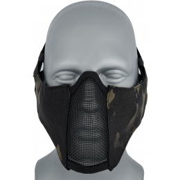 UK Arms Nylon PDW Mesh Mercenary Airsoft Half Mask - CAMO BLACK