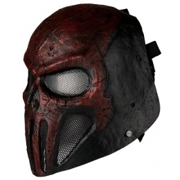 AMA Airsoft Skull Punisher Mask w PC Lens Wire Mesh - RED/BLACK