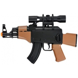 Double Eagle Low Powered Mini AK w/ Faux Wood & Mock Scope - BLACK/ WOOD