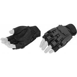 AMA Airsoft Half Finger Protective Gloves (X-LARGE) - BLACK