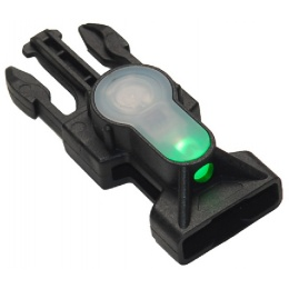 AMA Airsoft Mil-Spec Green LED Buckle Strobe Light - BLACK