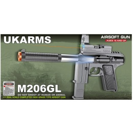 UK Arms M206GL Spring Pistol w/ Laser and Flashlight - BLACK