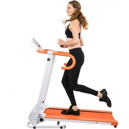 AuWit 1100W Motor Fitness Machine w/ Folding Treadmill - ORANGE