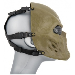 AMA Tactical Villain Skull Mesh Airsoft Face Mask - OLIVE DRAB
