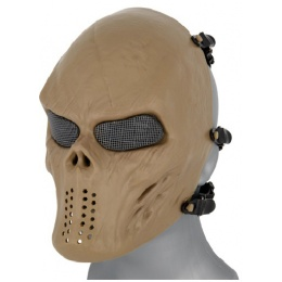 AMA Tactical Villain Skull Mesh Airsoft Face Mask - TAN