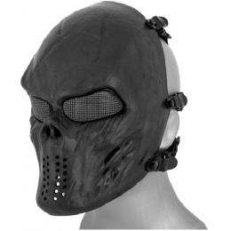 AMA Tactical Villain Skull Mesh Airsoft Face Mask - BLACK