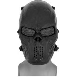 AMA Tactical Villain Skull Mesh Airsoft Face Mask - BLACK