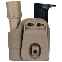 AMA Tactical ABS Polymer Pistol Mag and Flashlight Carrier - TAN